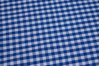 Blue and white 1 cm checks in recycled cotton