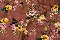 Cotton-jersey in dark old rose with yellow and soft red flowers