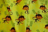 Kiwi color cotton with cute monkies with bananas
