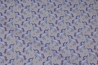 Light beige, woven cotton with unicorns