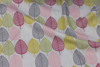Light grey, medium-thickness deko-cotton with 6 cm leaves