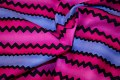 Lightpurple-pink-black cotton with beautiful zigzag stripes.