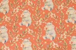 Melon-colored cotton-jersey with ca. 7 cm big hippopotamuses