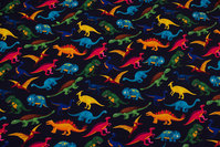 Navy, light sweatshirt fabric with dinosaurs in digital-print