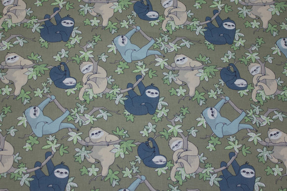 Olive-colored gots organic, woven cotton with sloth