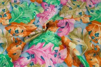 Orange-pink-green-blue big flowers on cotton