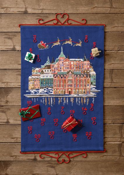 Gift calendar with Christmas on the town