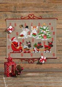 Gift calendar with reindeer and snowmen. Permin 34-9224.
