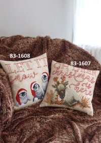 Pillow covers with penguins. Permin 83-1608.