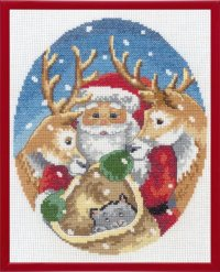 Christmas embroidery with Santa with deer. Permin 92-1262.