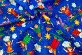 Royalblue cotton with happy children, kites and sunshine.