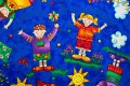 Royalblue cotton with happy children, kites and sunshine