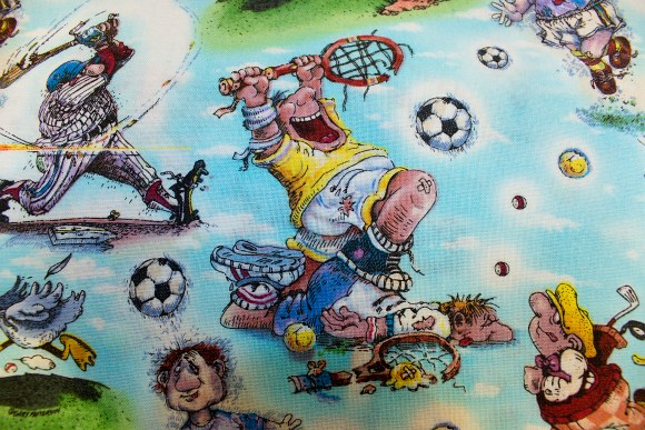 Turqoise cotton with fun sports