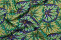 Patchwork-cotton in green-purple with beautiful cabbage leaves