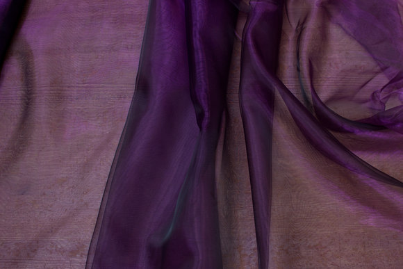 Transparent dark purple organza