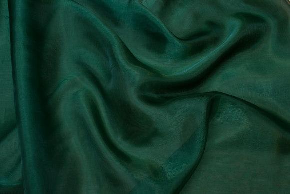 Transparent bottle-green organza