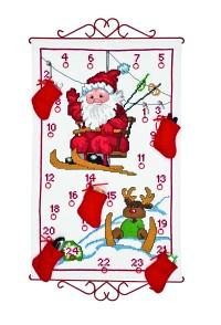 Permin 34-9522. White Christmas calendar with Santa Claus in ski lift.