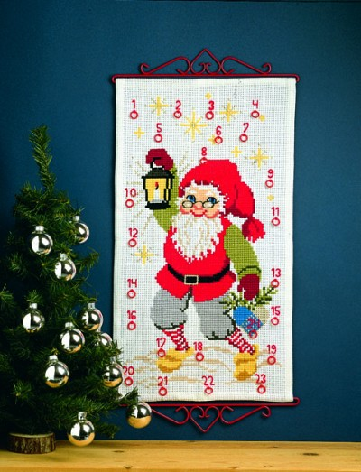Christmas gift calendar with Santa Claus with light