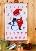Permin 34-8204. Christmas gift calendar with Santa Claus and snowman.