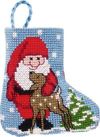 Santa claus christmas stocking. Permin 01-9212.
