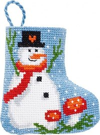 Snowman and mushrooms christmas stocking. Permin 01-9215.