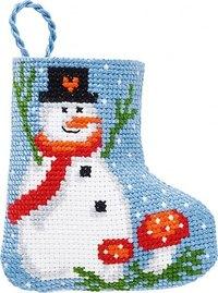 Snowman and mushrooms christmas stocking. Permin 01-9215.