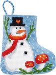 Permin 01-9215. Snowman and mushrooms christmas stocking.