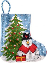 Gran and snowman christmas stocking. Permin 01-9216.