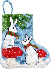 Rabbits christmas stocking. Permin 01-9218.