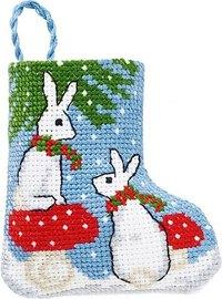 Rabbits christmas stocking. Permin 01-9218.