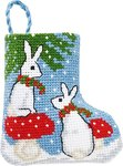 Permin 01-9218. Rabbits christmas stocking.