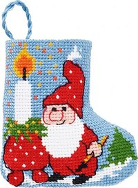 Light and elf christmas stocking. Permin 01-9219.