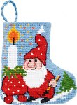 Permin 01-9219. Light and elf christmas stocking.
