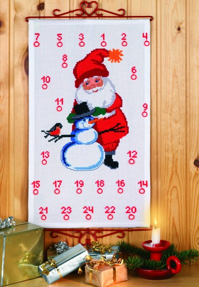 Christmas gift calendar with Santa Claus and snowman