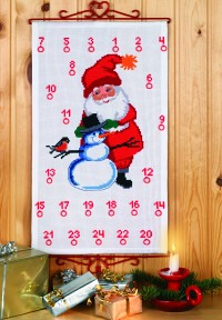 Christmas gift calendar with Santa Claus and snowman. Permin 34-8204.