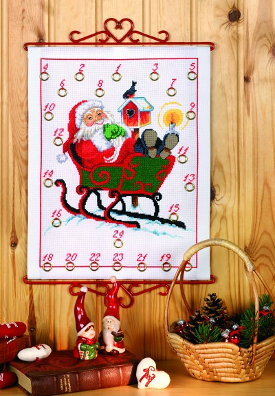 White Christmas calendar with Santa in the Sleigh