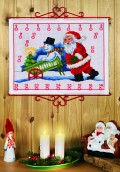 Permin 34-8206. Christmas gift calendar with Santa and snowman in cart.