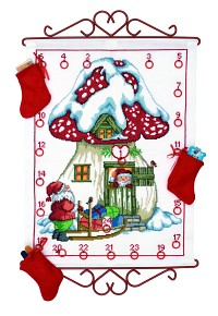 White Christmas calendar with mushroom house. Permin 34-9521.