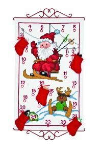 White Christmas calendar with Santa Claus in ski lift. Permin 34-9522.
