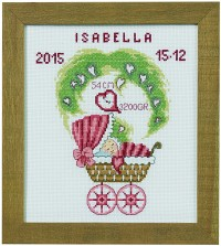 Child birth wall embroidery in red colors. Permin 92-0175.