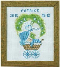 Child birth wall embroidery in blue colors. Permin 92-0176.