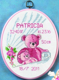 Baby birth embroidery. Permin 92-0901.