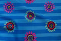 Blue patchwork-cotton with stripes and flowers