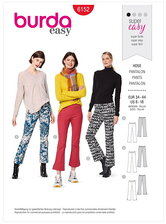 Flared trousers or pants with a waistband and side zipper. Burda 6152.