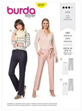Trousers or pants with a shaped waistband – Straight leg. Burda 6157.