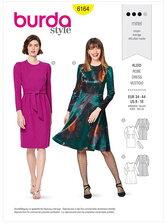 Dress – Narrow skirt with a vent or flared skirt. Burda 6164.