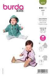 Babies Hooded Jacket, Coat with Tie Bands. Burda 9270.