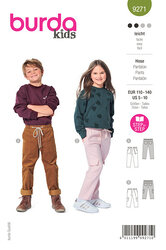 Childrens Slip-on Trousers and Pants with Elastic and Patch Pockets. Burda 9271.