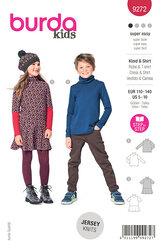 Childrens Top, Dress with Roll Neck Collar. Burda 9272.