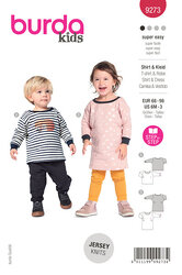 Babies Top and Dress with Round Neckline and Rib Knit Bands. Burda 9273.